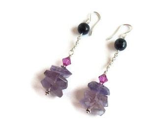 Amethyst Earrings Black Onyx Pink Swarovski Crystal Sterling Silver Chain February Birthstone Aquarius Healing Gemstone Woman Gift