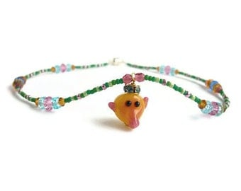 Child Necklace Baboon Prince Crown Charm Swarovski Pink Citrine Mint Green Silver Magnetic Clasp Girl Jewelry Teal Blue Yellow Doll Dress Up