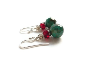 Turquoise Earrings Faceted Red Glass Smokey Quartz Sterling Silver December Birthstone Sagittarius Women's Healing Gemstone Jewelry Natural