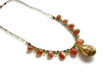 Sunstone Peridot Necklace Gold Vermeil Pendant Garnet Pyrite Women's Healing Gemstone Jewelry Lemon Quartz Chain August