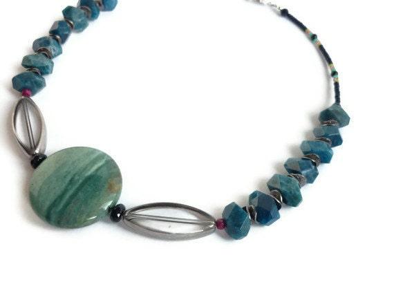 ON SALE Stone Pendant Necklace Blue Apatite Sterling SIlver Black Onyx Ruby July Birthstone Cancer Women's Healing Gemstone Jewelry OOAK