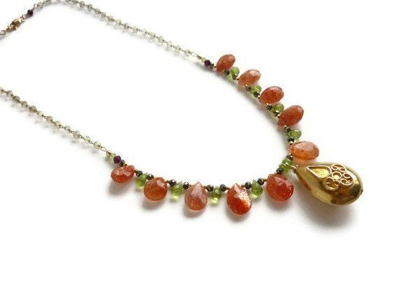 Sunstone Peridot Necklace Gold Vermeil Pendant Garnet Pyrite Women's Healing Gemstone Jewelry Lemon Quartz Chain August