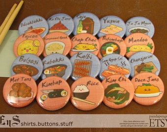 Korean Food - Pinback Buttons (20)