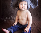 Crochet Infant Elephant Hat with Floppy Ears (Great Photo Prop) - Made to Order