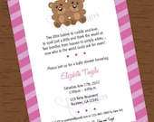 Custom Printable Boy or Girl Twins Teddy Bear Baby Shower Invitation