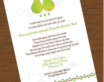 Custom Printable The Perfect Pair Baby Shower Invitation