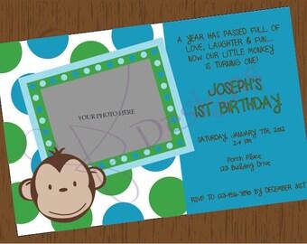 Custom Printable Mod Monkey Birthday Invitation