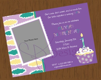 Custom Printable First Birthday Cupcake Invitation