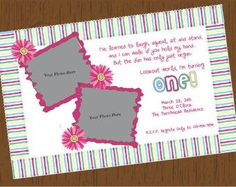 Custom Printable Floral Birthday Invitation