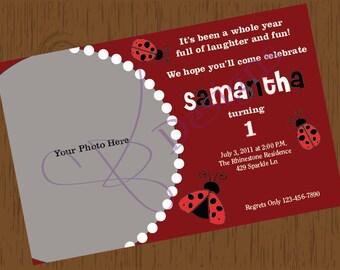 Custom Printable Ladybug Birthday Invitation