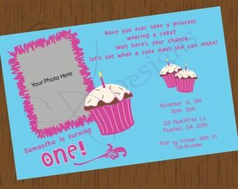 Custom Cupcake Birthday Invitation