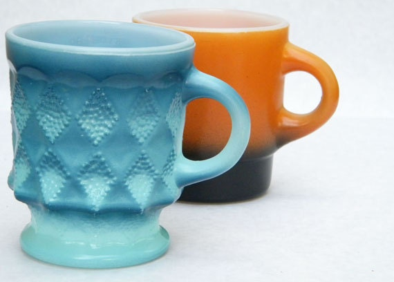 2 Vintage Collectible Fire King Mugs - 1 - Sea Blue Kimberly and 1 Orange Black Fade Stackable