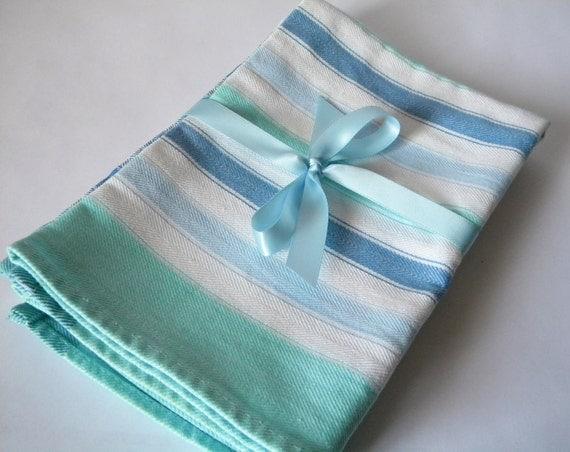 Vintage Cotton Tea Towels - Kitchen Towels - Aqua Blue White - Pretty
