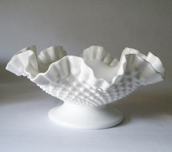 Large Mid Century Unmarked Hobnail Milk Glass Bowl - Footed - Classic Beauty - Pristine