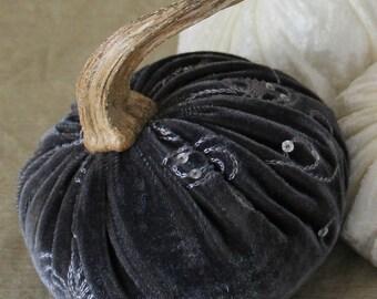 Embellished Sterling Velvet Pumpkin