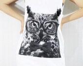 Owl Hoot Bird Cute Face Head Animal Pet Owl Tank Top Tunic White Vest Sleeveless Singlet Mini Dress Shirt Women Animal T-Shirt Size M