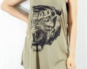 TIGER Jungle Forest Zoo Head Animal Hot Chic Brown Shirt Animal Tank Top Women Tunic Top Shirt Women Sleeveless Singlet Vest Women Size M