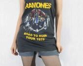 RAMONES Hard Rock Road To Ruin Tour 70's Tour Concert Rock Rock Vest Tank Top Women Shirt Black Tunic Top Shirt Sleeveless Singlet Size L