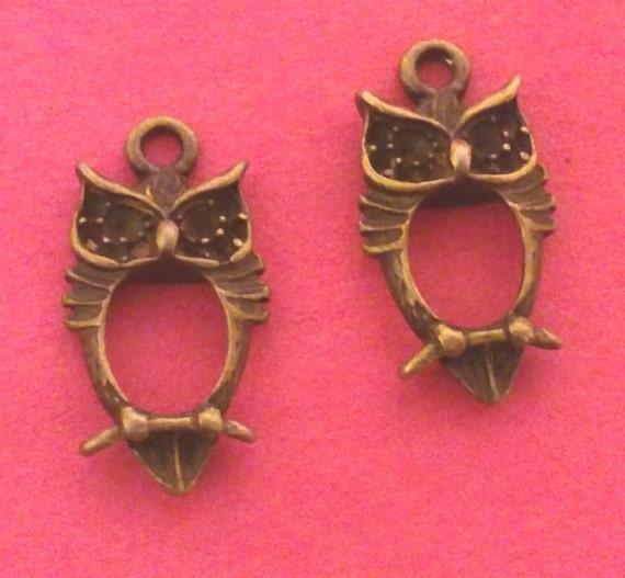 4pc antique bronze metal alloy owl pendant-5028