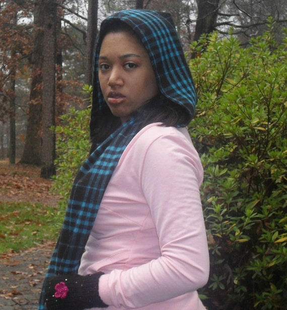 Hoodie Scarf Black and Aqua --Red Riding hood style