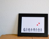 Stamped card : I love Dutch houses. White, Black, red.