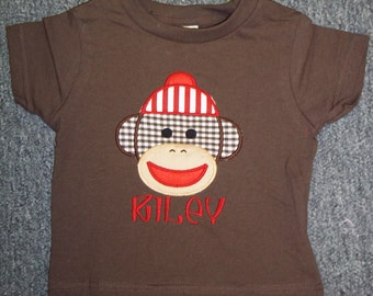 100% Cotton Sock Monkey Brown and Red Personalized Boutique Shirt with FREE Personalization