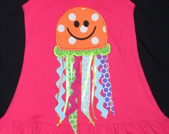 Girls Size 6 Jazzy Ribbon Jelly Fish Ruffle Bottom Boutique Dress with FREE Personalization, Perfect for Summer
