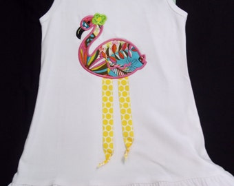 Girls Size 4 Fabulous Flamingo Ruffle Bottom Boutique Dress with FREE Personalization, Perfect for Summer