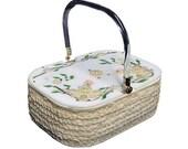 Vintage Lucite Purse - Box Purse Rhinestones Pearls Flowers SALE