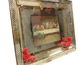 Vintage Jesus Picture - Lighted Last Supper Wall Hanging SALE