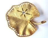 Vintage Brooch Leaf with Rhinestone Gold Matte Finish at HendyFinds