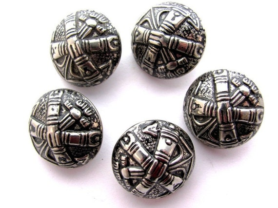 Vintage Buttons Metal Anchor Dome Shape Set of 5 at HendyFinds