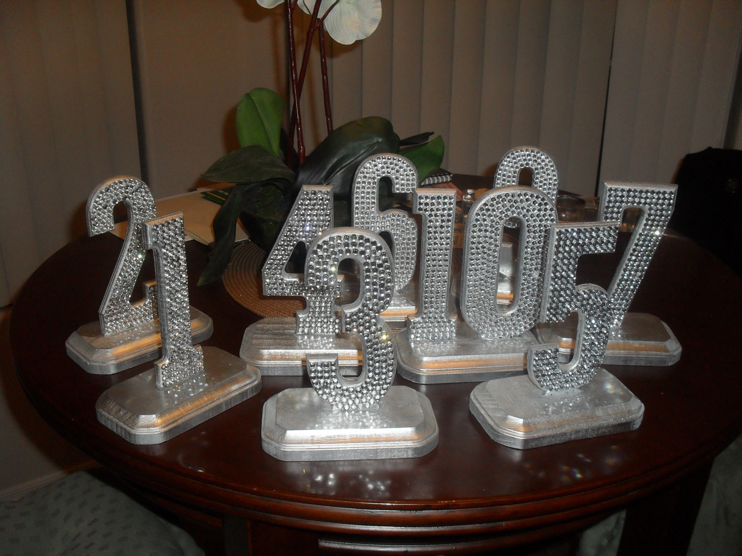 Bling crystal rhinestone wedding reception table numbers for Bling decor