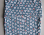 Baby Swaddler / Snuggler / Blanket - Organic, blue with white dots  and coral flowers (Ready to Ship)