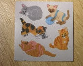 Vintage Sandylion Fuzzy Sticker Cats
