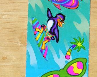 Vintage Lisa Frank Surfing Penguin