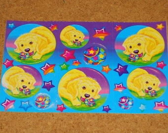 Vintage Lisa Frank Stickers Half Sheet Dog chewing Ball