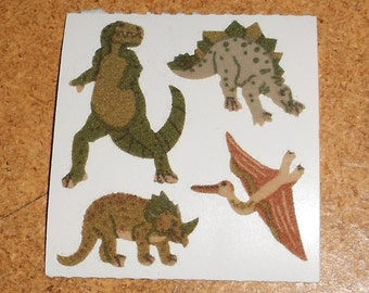 Vintage Fuzzy Sandylion Sticker Dinasours