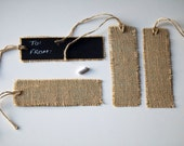 Handmade Reusable Burlap Chalkboard Gift Tags with Jute Twine