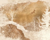 2 FOR 1 SALE - deer, winter wonderland art, snow, woodland forest, warm tone - Leaping Deer 8 x 10