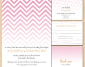 Pink Ombre Save the Date, Wedding Invitation, RSVP, and Thank You Card