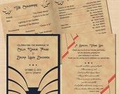 Vintage Charleston Printable Art Deco Wedding Program Booklet - 8.5 x 5.5