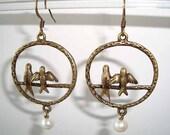 Love Birds Ivory Pearl Antique Bronze Earrings