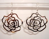 Antique Silver Filigree Rose Earrings