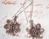 Antique Silver Flower Long Drop Earrings