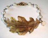 Antique Bronze Leaf with Ivory Pearls Bracelet