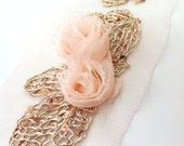 Golden Wire Sequins and Chiffon Rose  Flower Romantic Pastel Look.