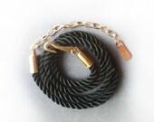 New Summer  Black Color Plaited Women Belt with Golden Chain Buckle - HandMade.