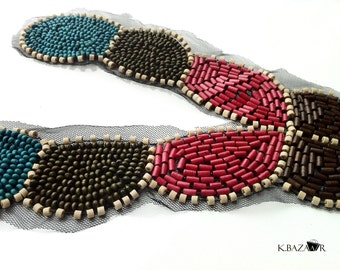 Fancy and Colorful Neck Lace Collar With Various Wood Beads.