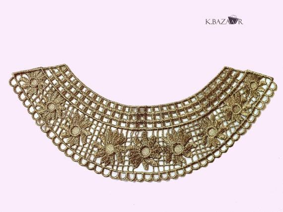Gold Crochet Collar, Golden bib, Sewing Collar , Venice Lace Collar